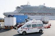 横浜港に停泊するクルーズ船「ダイヤモンド・プリンセス」(2月)