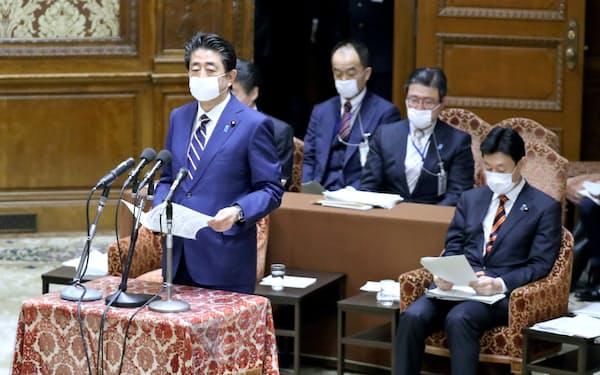 衆院議運委で緊急事態宣言に関する対応を報告する安倍晋三首相(7日)