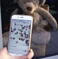 テディベアの所在地を示すスマートフォン上の地図(2日、ニュージーランド南部クライストチャーチ、デブ・ホフマンさん提供)=共同