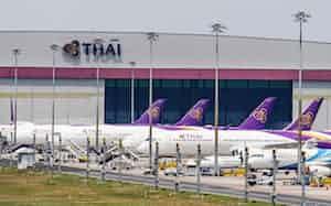 新型コロナウイルスは航空機の整備需要にも影響を及ぼす可能性がある(3月25日、バンコク)=小高顕撮影