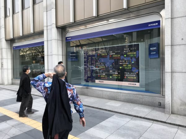 株価ボードを見つめる人たち(東京・八重洲)