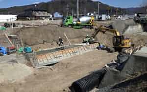 2019年秋の台風19号による豪雨災害の復旧工事(長野県佐久市)=長野県提供