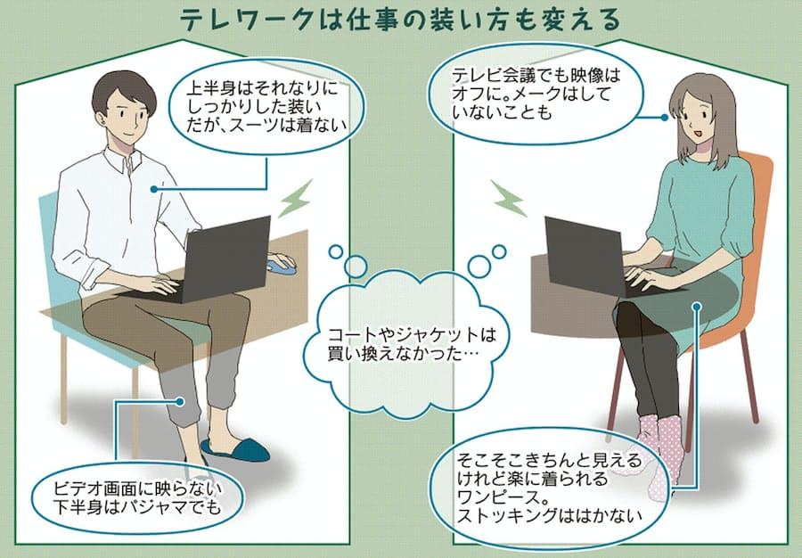 在宅勤務で装い変化 男性は脱スーツ、女性はカジュアル: 日本経済新聞