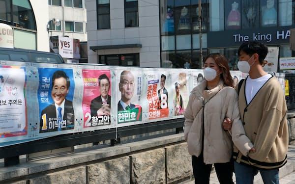 15日投開票の韓国総選挙は、投票率が低下する可能性も指摘される(ソウル市内)