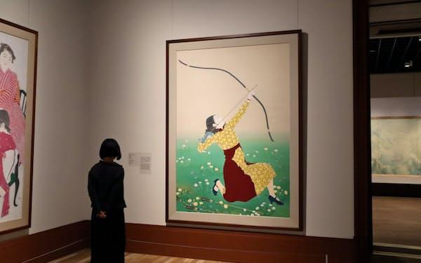 丹羽阿樹子「遠矢」など近代の日本画が並ぶコレクションルーム