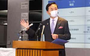 黒岩知事は東京都と同様に休業を要請する方針を明らかにした(県庁)
