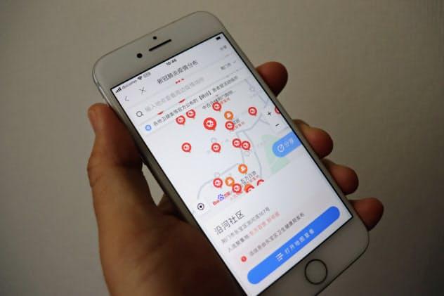 百度などは地図アプリで感染者の発生地点をプロットしている