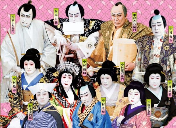 無料で配信されることになった歌舞伎座公演に出演した俳優たち