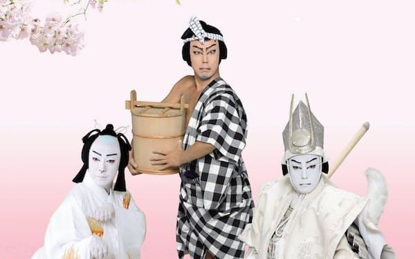 3役を演じた尾上菊之助(左から源九郎狐、いがみの権太、平知盛)