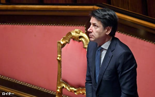 新型コロナで大きな影響を受けるイタリアのコンテ首相。EUから思うような支援を得られず、経済を立て直せなければ政権に黄信号が点灯しかねない=ロイター