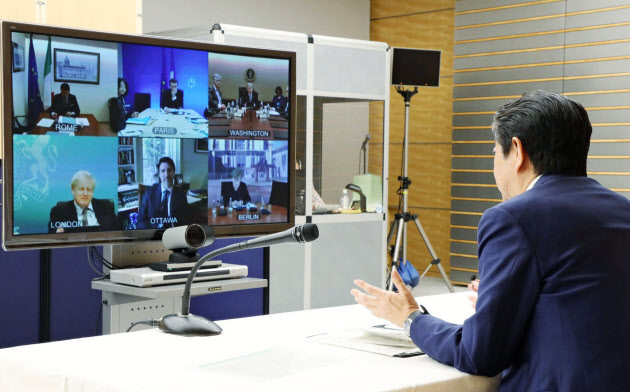 G7首脳は3月にも新型コロナウイルスの感染拡大を巡る緊急テレビ電話会議を開いた(内閣広報室撮影、首相官邸のツイッターより)