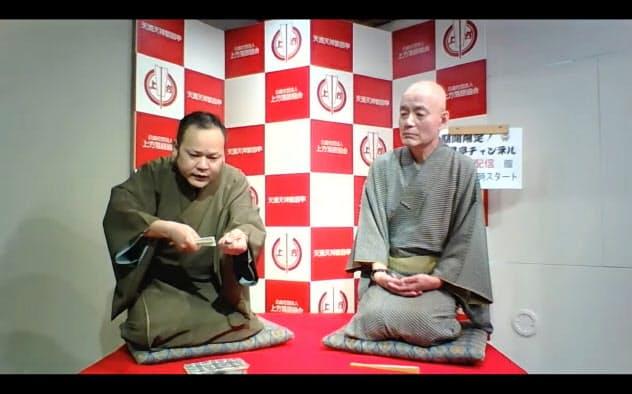 桂枝女太(右)と笑福亭右喬による「公開稽古」