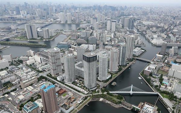 住宅地への影響は限定的か(東京都江東区のタワマン群)