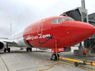 オスロの空港に駐機するノルウェー・エアシャトルの機体=ロイター