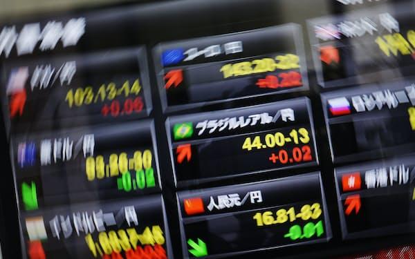 外国為替相場を示すボード(東京・日本橋)