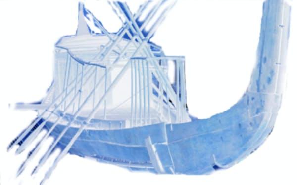 東京大の大石岳史准教授が3Dデータで解析したクフ王の「第2の太陽の船」
