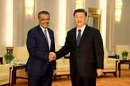 中国の習近平国家主席(右)は世界保健機関(WHO)のテドロス事務局長を支持する姿勢を打ち出している(1月、北京)=ロイター