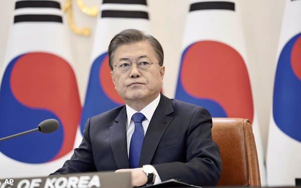 韓国の文在寅大統領=AP