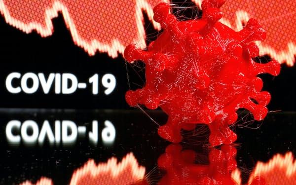 3次元プリンターによるコロナウイルスのモデル=ロイター
