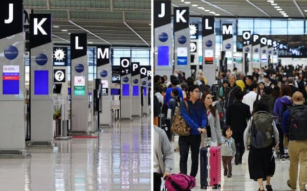 閑散とする成田空港の出発ロビー(25日、写真左)と、海外に向かう人たちで混み合う昨年4月末の様子