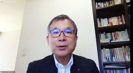 オンラインで行われた「新型コロナウイルス対策連絡会議」の第6回会議で発言するJリーグの村井チェアマン(23日)=共同