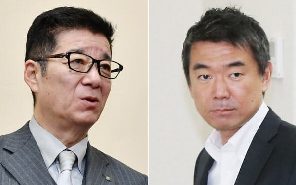 大阪市の松井市長(左)が求めていた、橋下氏(右)の社外取受け入れを関電は拒否した