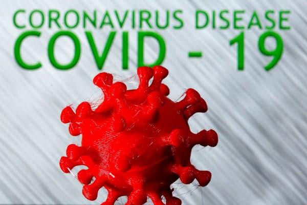 3次元プリンターによる新型コロナウイルスのモデル=ロイター