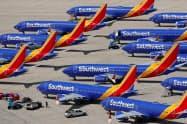 保有するボーイング「737MAX」も運航停止中だ(19年3月、カリフォルニア州)=ロイター