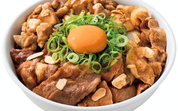 吉野家が販売を開始した「スタミナ超特盛丼」。牛肉、豚肉、鶏肉を具材に使った