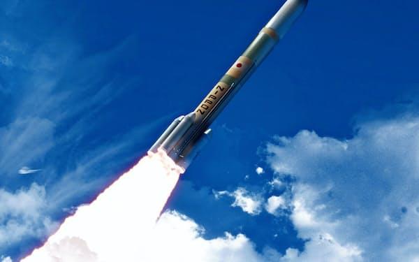 20年度後半に初号機打ち上げ予定のH3ロケット(イメージ)=JAXA提供。