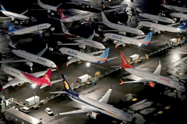 FILE PHOTO: Aerial photos showing Boeing 737 Max airplanes parked at Boeing Field in Seattle, Washington, U.S. October 20, 2019.  REUTERS/Gary He/File Photo