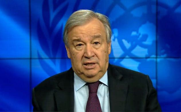 新型コロナの高齢者への影響について語る国連のグテレス事務総長(1日、ニューヨーク)