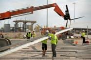 米建設支出は3月、公共部門が伸びた(米テキサス州の公共工事現場)=ロイター