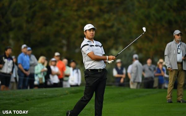3月のプレーヤーズ選手権で初日首位に立った松山。米ゴルフ界はそこから時を止めたままだ=USA TODAY