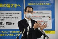 福島県の内堀雅雄知事は事業者向けに新たな支援金を支給する方針を示した(5日、県庁)