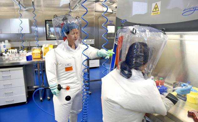 2017年2月、武漢ウイルス研究所で実験する石正麗氏(左)=共同