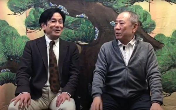 桂米団治(左)による桂ざこばインタビュー