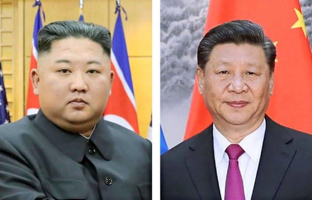 北朝鮮の金正恩委員長(左)(朝鮮中央通信・共同)と中国の習近平国家主席(UPI・共同)