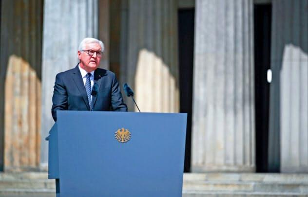 欧州での大戦終結75年で講演するシュタインマイヤー独大統領=ロイター