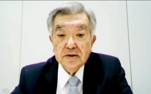 オンラインで行われた合同記者会見で発言するプロ野球の斉藤惇コミッショナー(11日午前)=共同