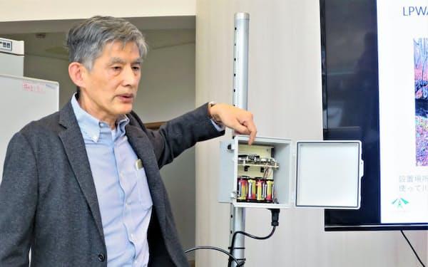 乾電池でも長期間作動するLPWA活用の河川水位計測装置