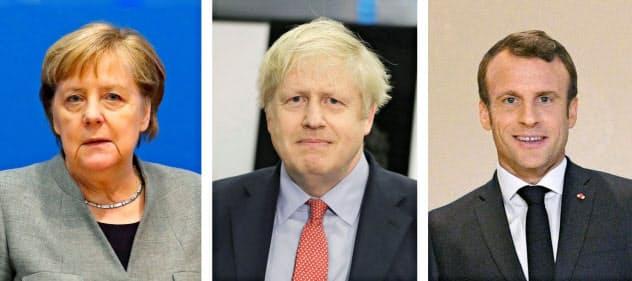 ドイツのメルケル首相(ロイター)英国のジョンソン首相(AP)フランスのマクロン大統領(共同)