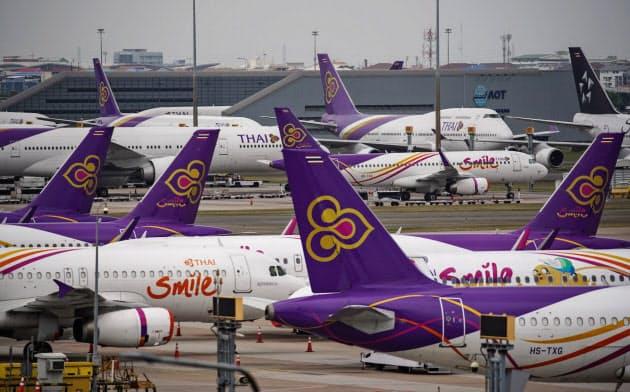 タイ航空は5月末まで全便を運休する(4月17日、バンコクのスワンナプーム空港)=小高顕撮影