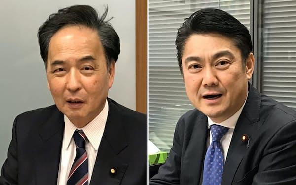左、日本維新の会政調会長の浅田均氏。右、インタビューに応じる自民党の山下貴司氏