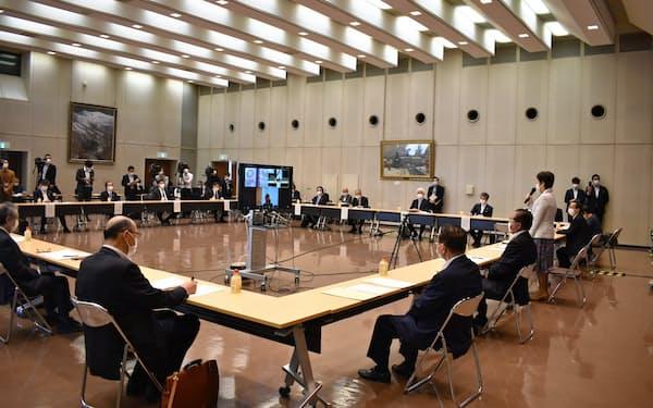 各界の代表者を集めた新型コロナ克服・創造山形県民会議(13日、県庁)