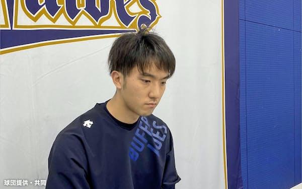 オンラインで取材に応じるオリックスの田嶋(14日、京セラドーム大阪)=球団提供・共同
