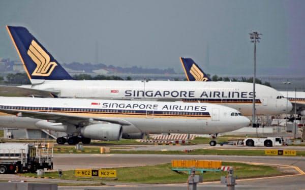 国際線のみのシンガポール航空の経営は厳しい(2019年1月、チャンギ国際空港)=三村幸作撮影