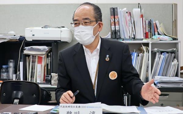 池田泉州HDの鵜川淳社長は新型コロナの影響長期化を警戒する(15日、大阪市)