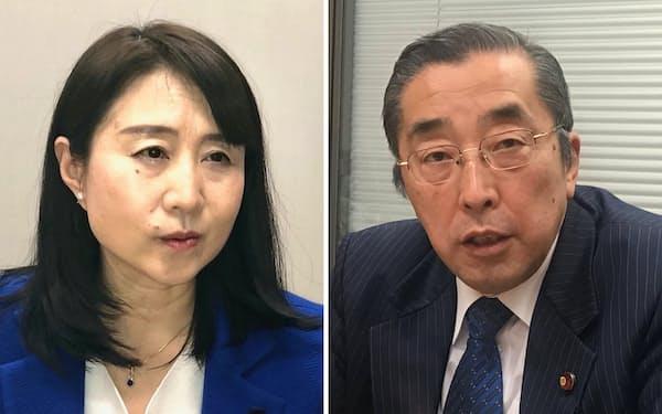 国民民主・役員室次長の矢田稚子氏(左)と自民・雇用問題調査会副会長の鈴木淳司氏