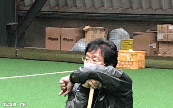 マスク姿で練習を見守る日本ハムの栗山監督(16日、札幌市内)=同球団提供・共同